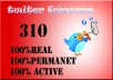 give you High Quality REAL 310 ++ Twitter followers without your password in less than 24 hours....@