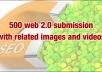 500 web 20s submission in different platform with niche related images and videos with penguin safe feature..!!