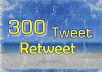 give you 300 tweet or retweet mostly from USA real twitter user within 24 hours