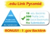 create a super edu link pyramid, with 90 edu backlinks,1100 forum profiles and 15 bookmarks