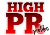 create 25 high pr profiles for better SEO and more backlinks to your site which includes a report of the high pr profiles I create for you!!!