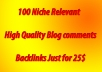 provide You 100 High Quality Niche Relevant Blog comments Backlinks With Low OBL (All Niche are Accepting)