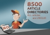 submit your article to 8500 Directories to get 250+ Approved SEO Backlinks +Spin