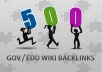 create 500+ High Quality Wiki backlinks to increase your rank