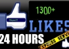 send You 1300+ High Quality Total Real Active Facebook Likes, Quick Genuine Fans..!!!!!!!!!