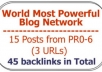 improve your Serp with 30 Backlinks from 10 posts tapping The Authority Link Network!!!
