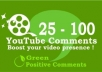 give You 100 SUPER Comments to Your Youtube Videos + 100 Likes to Boost popularity!!!