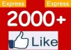 give you 2000 to 2200 Real looking facebook likes or fans to your fanpages within 48 hours...!!!!!!!