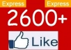 give you 2500 to 2700 Real looking [PERMANENT] facebook likes or fans to your fanpages within 48 hours..!!!!