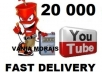 give you 20 000 youtube views with very fast delivery..!!!!!!!!!