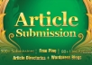 spin and Submit to 500 Article Submission Directories and blogs + 160 Instant Backlinks + 80 Live URLs