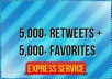 deliver 5000 Retweets and Favorites from 5000 unique profiles having a total of 400,000 followers within 48 hours