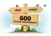 ********create 800 social bookmark SEO backlinks + ping in 24 hours