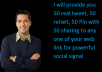provide you 50 real  tweet, 50 retwit, 50 Pin with 50 sharing to any one of your web link for powerful social signal