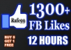 give You 1300+ Facebook [Permanent Guaranteed] Likes to your Fan Page in less than 12 hours, Only....!!!!!
