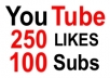 give you 250+ Real YouTube Likes and 100 Real Subscribers for your Video and Channel within 36 hours