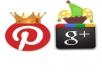 make 25 Facebook share,30 Delicious Followers,30 Google Plus,25 Pinterest Followers, 15 Stumbleupon Followers