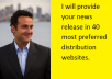 provide your news  release in 40  most preferred distribution websites