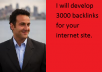 develop 3000 backlinks  for your internet site