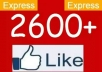 give you 2500 to 2700 Real looking [PERMANENT] facebook likes or fans to your fanpages within 24 hours.....