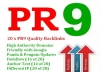 create you 20 PR9 backlinks from 20 different PR 9 high authority sites [ dofollow, Panda and Penguin compatible ] + pinging....