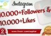 get You 10,000 Instagram Followers and 8000 Instagram Likes to your instagram account, super fast.....
