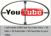 create 1000 real You tube Visit + 50 likes + 50 Subscribe + 50 Favorites to your video