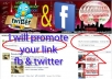 promote your WEBSITE or any link to my active 1million+ Facebook group members in 4 groups and 700+ twitter fans and 152+fans in usa group