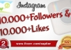 get You 10,000 Instagram Followers and 8000 Instagram Likes to your instagram account, super fast ..@