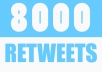 deliver 8000 Retweets and Favorites from 8000 unique profiles having a total of 500,000 followers within 24 hours