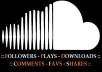 give you any one from 150 SoundCloud plays, downloads, followers, favorites OR 50 comments only!!!!!!!!!