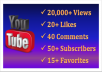 give you 20,000+ YouTube views, 40 Custom Comments, 25+ likes, 50+ subscribers, 15+ favorites