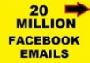 give you more then 20 Million email list that you can use for bulk mail and increasing your sales