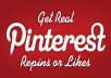Give you 555+ Pinterest followers, 100% real only