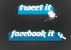 give you 50+ Facebook likes and 50+ Twitter tweets to your websites,blogs to boost it on search engine..!!!!!!!!