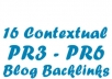 create 16 Contextual BACKLINKS and Post to PR3 to PR6 Blogs in a Large Private Network, All Do follow