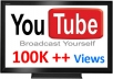 give you guaranteed 100,000+ (100K) youtube views and 100+ likes to your video