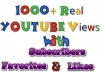 send 1200 Real YOUTUBE Views + 51 Likes + 51 Subscribers + 51 Favorites + 11 Comments To Your YouTube Video