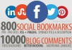 create 800 Unique Social Bookmarks + 10,000 Scrapebox Blog Comments as Tier2 Linkjuice + Rss + Pinging of all SEO Backlinks ...!!!!!!!