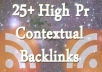 create Over 25 High Quality Contextual Backlinks For Your Website [100 Percent Rated Seller, Over 300 Orders] @!