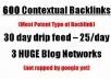 manually build 600 blog network backlinks, Drip Feed for 30 days.........