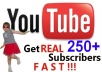 send you 250+ Guanrated subscribers[Fast] to your YouTube channel 24-36 hrs