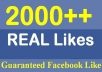 give 2000+ REAL facebook likes or fans to your facebook fanpages, website, likes are no bots, no fake account, only real people