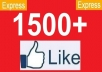 give you 1500 to 1600 Real looking facebook likes or fans to your facebook fanpages, all likes deliver within 48 hours...!!!!!!!!!!!