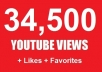 give views on your YOUTUBE video 34,500+ youtube Views, 1+ likes, 1+ Favorites and 1+ Subscribers........