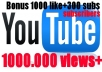 give your YouTube Video Over 100.000 Views + 1000 Likes + and 300+ Subscribers + Guaranteed Fast