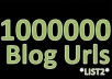 send You 1 Million Unique Wordpress Blog Urls List + Super Bonus 500 000 BlogEngine Urls @!