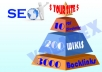 create linkpyramid with 10 level 1 docs sharing sites, 200 level 2 high pr wikis and 3000 level 3 backlinks.............
