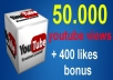 give your YouTube Video Over 50000 Views + 400 Likes Guaranteed within 72hours - 98 hours