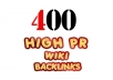 create over 400+ WIKI backlinks from unique high pr sites including edu and gov + ping for fast index..@